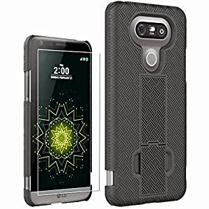 G5 Cases, LG G5 Case and Screen Protector, Boonix Hybrid Defender Protective Cover w/ Kickstand , Shockproof Shell w/ Belt Clip by BOONIX (Black w/ Holster)