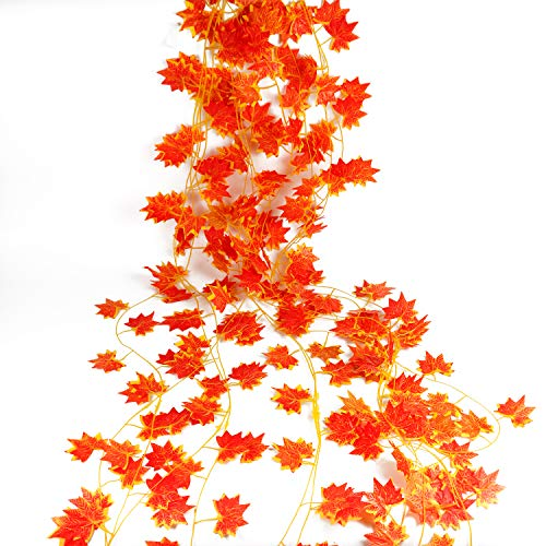 Decorations Wholesale Christmas (Syihaos 12 Pack 90 Feet Artificial Silk Fall Maple Leaf Garland Autumn Hanging Vine Wholesale Home Party Ceremony Wedding Table Centerpiece Decoration Christmas Decoration)