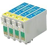 4 Compatible Cyan XL Printer Ink Cartridges to replace T1632 (16XL Series) for use in Epson Workforce WF-2010W, WF-2510WF, WF-2520NF, WF-2530WF, WF-2540WF (Capacity: 15ml)