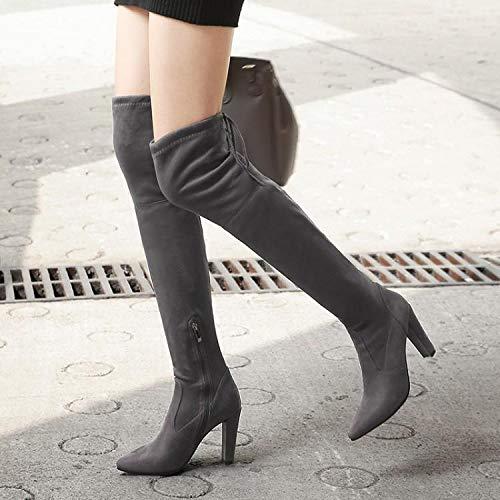 KPHY Damenschuhe Im Herbst und Winter Winter Winter Dick und Knie Stiefel 10 cm High Heels Elastische Stiefel High Flush Stiefel.37 Schwarz de46f6