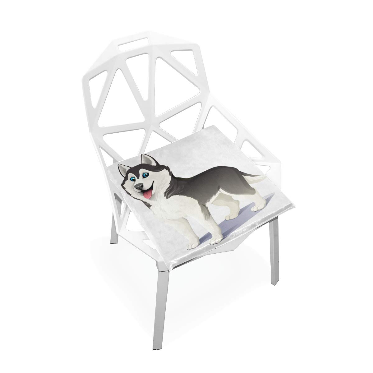 TSWEETHOME Comfort Memory Foam Square Chair Cushion Seat Cushion with Cartoon Animal Husky Dog Chair Pads for Floors Dining Office Chairs