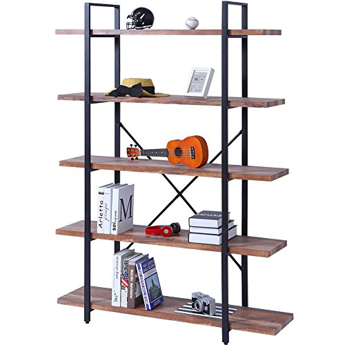 SUPERJARE 5-Shelf Industrial Bookshelf, Vintage Etagere Bookcase, Rustic Book Shelf, Free Standing Storage Display Shelves, Dark Oak