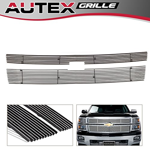 Polished Horizontal Billet Main Upper Grille Insert for 2014 2015 Chevy Silverado 1500 Grill Reg Model C65950A (Horizontal Billet Grille)