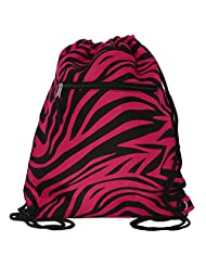 World Traveler 15 Inch Drawstring Backpack Bag, Fuchsia Black Zebra, One Size