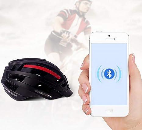FENGE Casco Música, Intermitente, Sistema de navegación, función de Llamada Bicicleta, Tecnología de conducción ósea, Calidad de Sonido,M(55/58CM): Amazon.es: Deportes y aire libre