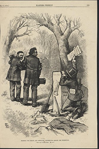 Robbing Grave Press Shield Tombstone Nast 1874 antique wood engraved - Shield 1874