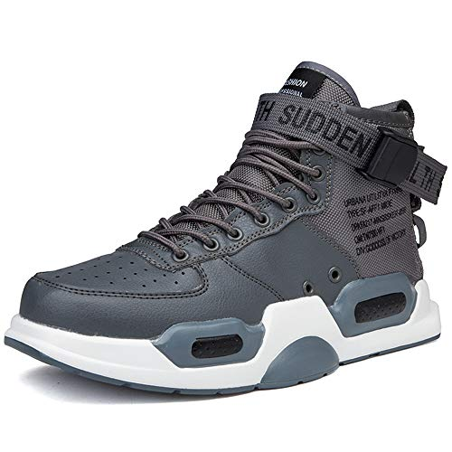 BAIQUAN Men Sneakers high top Running Shoes for Men Grey
