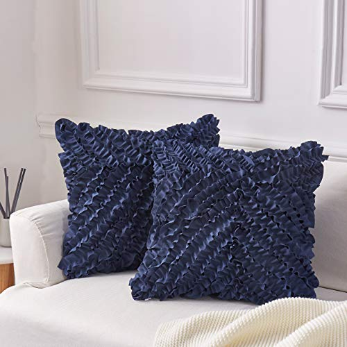MoMA Decorative Throw Pillow Covers (Set of 2) - Pillow Cover Sham Cover - Navy Throw Pillow Cover - Decorative Sofa Throw Pillow Cover - Square Decorative Pillowcase - Navy Blue - 18