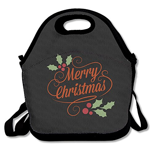 [Merry Christmas Lunch Bag Lunch Tote, Waterproof Outdoor Travel Picnic Lunch Box Bag Tote With Zipper And Adjustable Crossbody] (Flamenco Costumes San Francisco)