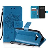 OuDu Tree&Butterfly Printing Pattern Case for Samsung Galaxy Core LTE 4G SM-G386F PU Leather Cover Flip Wallet Shell Stand Function Bumper with Magnetic Closure & Card Slots - Blue