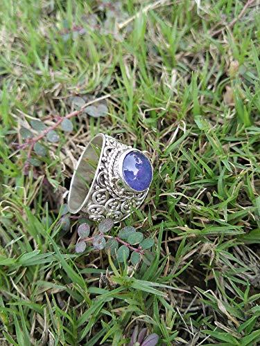 Anillo de Kyanite, 925 plata esterlina, hermosa joyería azul, joyería antigua, anillo victoriano, anillo de diseñador,...
