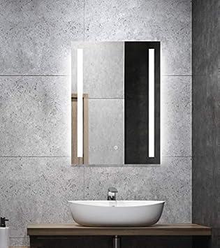 ALLDREI Badspiegel mit Beleuchtung AD27 Badezimmerspiegel mit LED licht,  Touch Schalter – Senkrecht Montage 50 x 70 cm, Weiß Lichtfarbe, ...