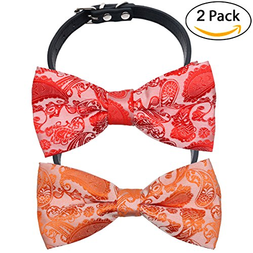YOY Handcrafted Adorable Pet Bow Ties - 2-pack Adjustable Dog Collar Paisley Bowties Neckties Kitty Puppy Grooming Accessories for Doggy Cat, Neck 6.5