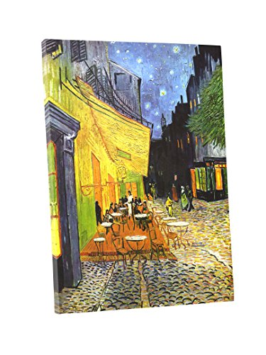 Niwo Art (TM - Cafe Terrace at Night, by Vincent Van Gogh - Oil Painting Reproductions - Giclee Canvas Prints Wall Art for Home Decor, Stretched and Framed Ready to Hang (20 x 24 x 1.5 Inch) ()