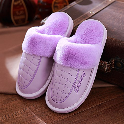 DogHaccd pantofole,Il cotone pantofole inverno femmina home interior coppie costolette di manzo pelle spessa resistente all'acqua anti-slittamento inverno caldo uomini pantofole La porpora2