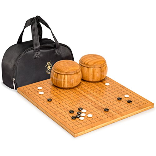 Stones Convex Go Game - Yellow Mountain Imports Go Game Set with Bamboo 0.8 Inch Go Board with Double Convex Melamine Stones (Size 32.5) and Bamboo Bowls