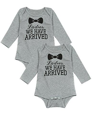 Mini Era Baby Boys' 2 Piece Gentleman Tie Cute Twins Long Sleeve Bodysuit (0-3 ()