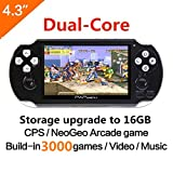 CZT 16GB Dual-core 64Bit Handheld Game Console 4.3'' Video Game Console Support Built-in 3000 CPS/NEOGEO/GBA/SFC/MD/FC/GBC/SMS/GG Games Mp5 Player (Black)