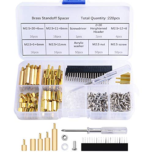 - GeeekPi 220PCS Standoffs M2.5 Brass Spacer Hex Column Screw Nut Assortment Kit with Box,Male-Female for Raspberry Pi,with Acrylic Washer Screwdriver