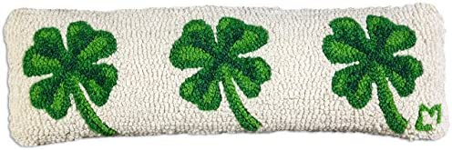 Chandler 4 Corners Artist-Designed 4 Leaf Clover Hand-Hooked Wool Decorative Throw Pillow 8 x 24