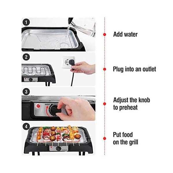 Aigostar Lava Pro - Griglia senza fumo, griglia per barbecue elettrica con piedini e tavolo da esterno. Antiaderente con… 3