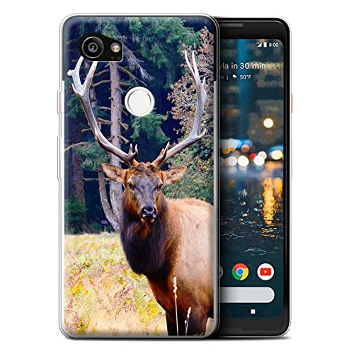 STUFF4 Gel TPU Phone Case / Cover for Google Pixel 2 XL / Elk/Bull Design / North America Animals Collection (Elk 2)