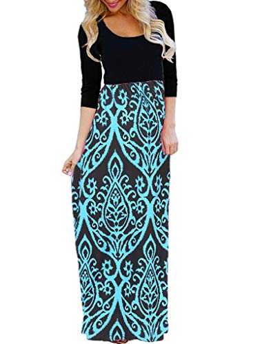 - OURS Women's Casual 3/4 Sleeve Floral Print Dresses Ethnic Style Party Long Maxi Dresses with Pockets (Blue, M)
