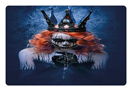 Ambesonne Queen Pet Mat for Food and Water, Queen of Death Scary Body Art Halloween Evil Face Bizarre Make Up Zombie, Rectangle Non-Slip Rubber Mat for Dogs and Cats, Navy -