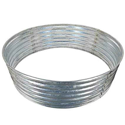 Home World 48 Round Galvanized Steel Fire Pit Ring Large Outdoor Heavy Duty Metal Wood Burning Firepit Ring Breaks Down For Easy Storage