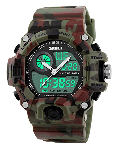 Waterproof Digital LED Multi-function Military Sports Watch Green - 1