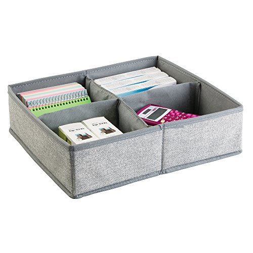 mDesign Fabric Desk Drawer Storage Organizer for Office Supplies, Notepads, Printer Ink, Calculators, Staplers - 4 Compartments, Large, Gray Photo #1