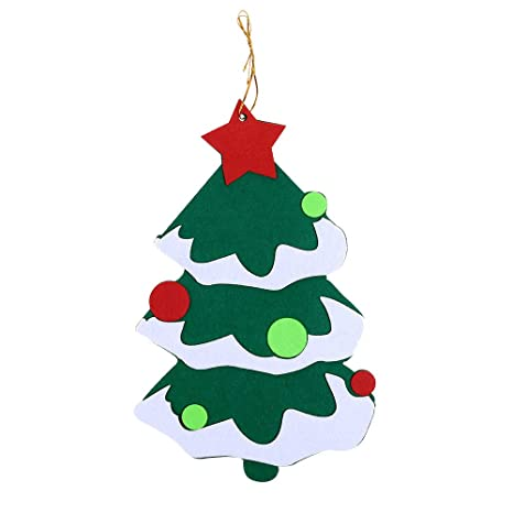 Felt Christmas Tree Pattern.Amazon Com Salaks Diy Felt Christmas Tree Ornaments Xmas