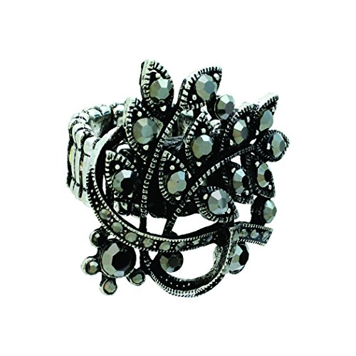Rosemarie Collections Women's Crystal Leaf Statement Stretch Ring (Hematite) -