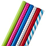 Hallmark All Occasion Wrapping Paper Bundle with Cut Lines on Reverse (Pack of 6; 180 sq. ft. ttl.) Solids, Polka Dots & Stripes for Birthdays, Christmas, Holidays, Weddings and More: more info