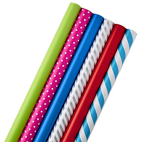 Hallmark All Occasion Wrapping Paper Bundle with Cut Lines on Reverse, Polka Dots & Stripes—Birthday, Holiday, Wedding (Pack of 6, 180 sq. ft. ttl.) (Christmas Wrap Gift Stripe)
