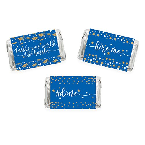 Andaz Press Royal Blue and Gold Glittering Graduation Party Collection, Chocolate Minis Labels, Fits Hershey's Miniatures Party Favors, 36-pack