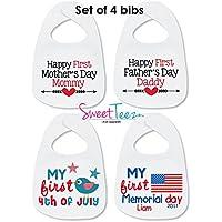 My First Mother's Day Bib Set of 4 Baby Girl Boy My First Father's Day Set Gift For a Baby