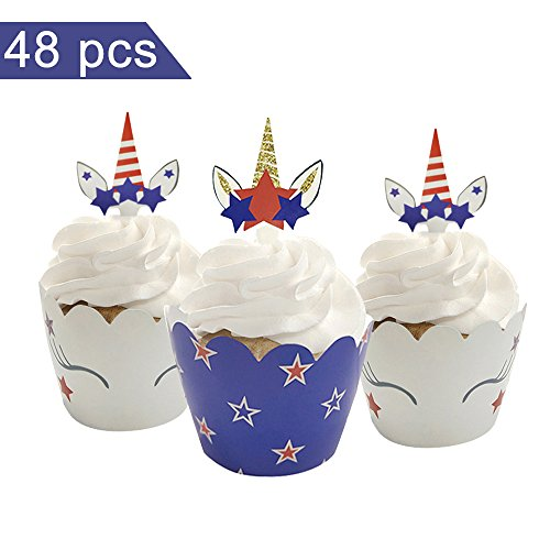 Celebration Cup - Unicorn Cupcake Toppers + Wrappers For Celebration on 4th July, Baby Shower, Birthday Party, Unicorn Theme Cupcake Decoration Set of 24 (Double Sided & Same Pattern)