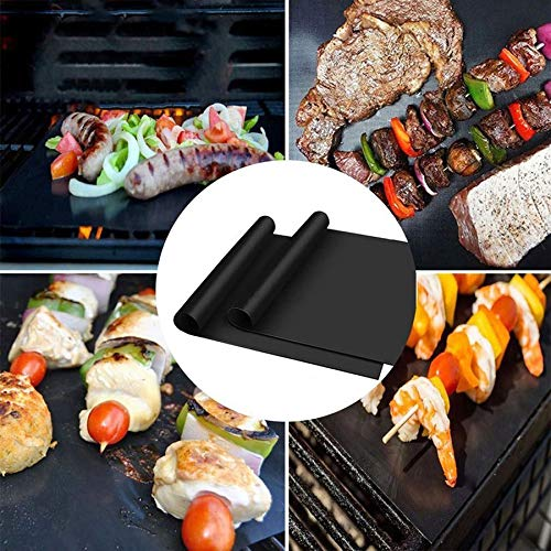 Lovelysunshiny 3pcs/5pcs Non-Stick BBQ Grill Mat Pad Outdoor Picnic Cooking Barbecue Tool
