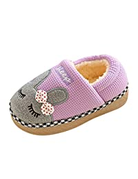 KONFA Home Winter Warm Fluffy Bunny Cotton Slippers for Little Kids Baby Girls Boys Indoor House Rubber Sole Slipper Shoes