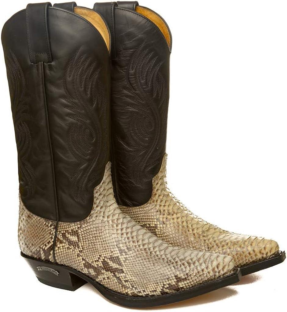 Sendra Boots Bota Western 2605 Pico en Pitón Natural y Cuero Negro