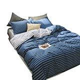EnjoyBridal Soft Cotton Dark Blue Stripes Duvet Cover Sets for Teens Kids Queen Striped Bedding Cover Set with Zipper Pillow Shams Full Quilt Cover for Boys Girls (Queen, Dark Blue)
