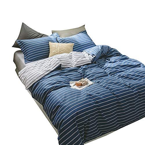 EnjoyBridal Soft Cotton Dark Blue Stripes Duvet Cover Sets for Teens Kids Queen Striped Bedding Cover Set with Zipper Pillow Shams Full Quilt Cover for Boys Girls (Queen, Dark (Stripe Full Queen Duvet)