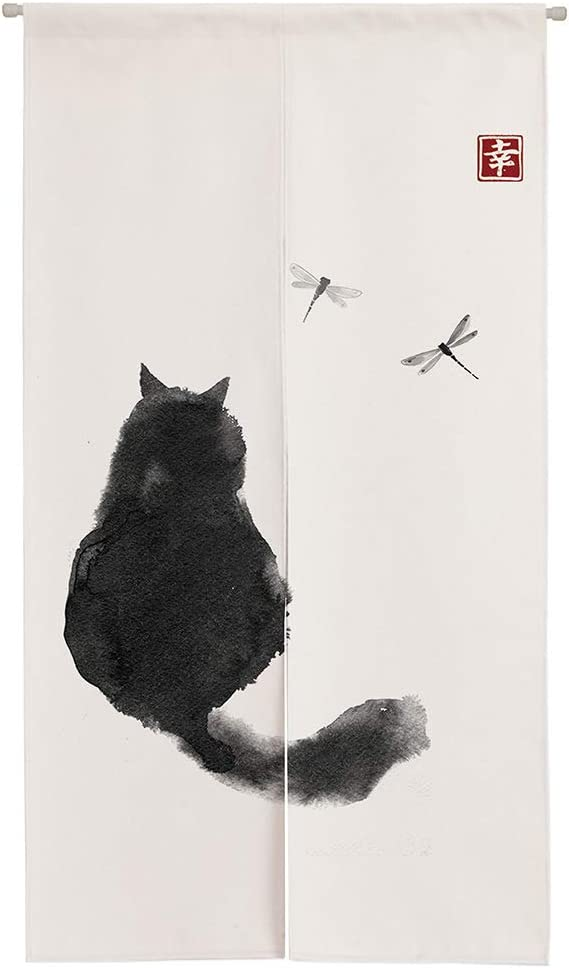 Ofat Home Design Japanese Ink Cat Black and White Noren Doorway Curtain Polyester Blend 33.5