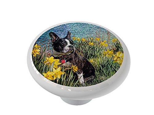 Boston Terrier in Daffodils Ceramic Drawer Knob