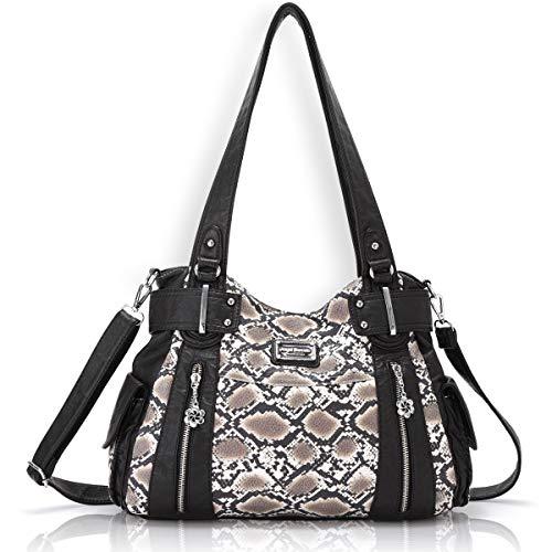 (Women Handbags Purses PU Leather Shoulder Bags Top Handle Satchel Tote Bags (3058B 18#Brown Snake))