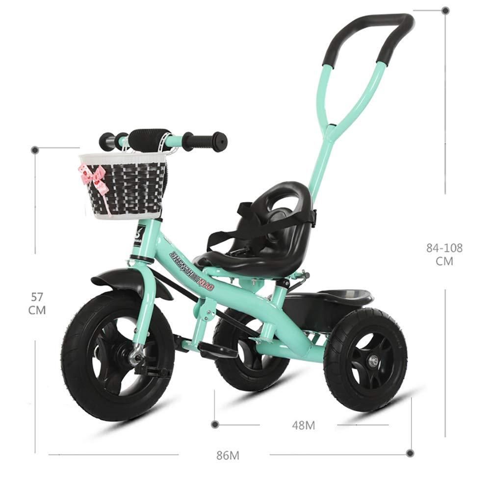 MC-F Triciclo de ni/ños con Barra de manija de Empuje extra/íble para Padres Bici del Pedal de los ni/ños 3 Ruedas con neum/áticos de Goma 80-120 cm,Blue para ni/ños de 1-6 a/ños y ni/ños peque/ños