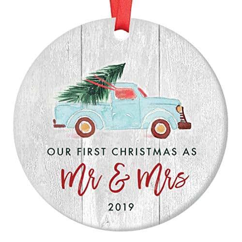 Christmas Ornament Wedding Gift: Amazon.com: Newlywed Christmas Ornament 2019 First