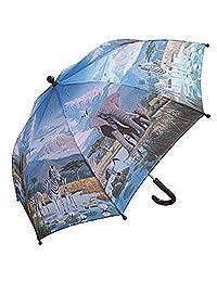 RainStoppers W104CHZOO Kid's Zoo Print Umbrella, 34-Inch