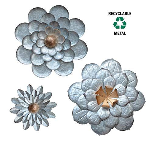 Galvanized Flower - GIFTME 5 Galvanized Flowers Wall Décor Set of 3 Metal Flower Wall Art